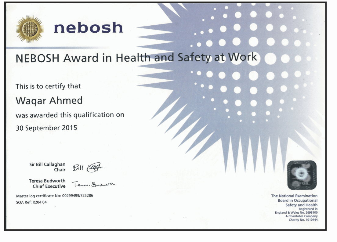 Nebosh hsw fit iso 90012015 certified govt of pk registered nebosh hsw sample certificate xflitez Gallery